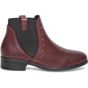 Chelsea boots cuir bordeaux à clous violet eram