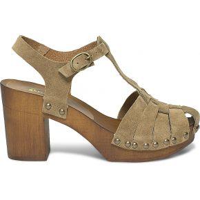 Sandale-sabot marron en cuir velours beige eram