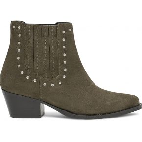 Chelsea boots texto kaki en cuir velours