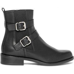 Boots noir en cuir à double boucle
