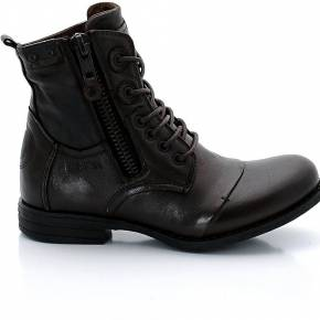 Boots zip, cuir. bunker marron foncé