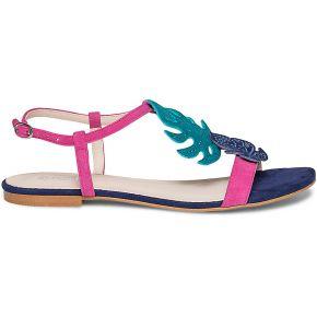 Sandale bleue et rose en cuir velours orné de...