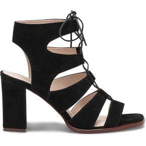 ae40375602da6 Sandale noire à brides en cuir velours noir eram