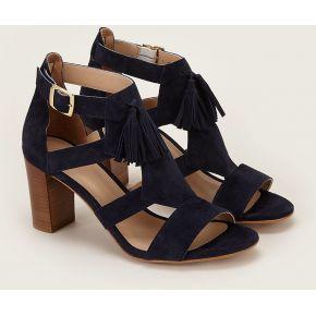 Sandales en cuir et pampilles rita bleu nuit...
