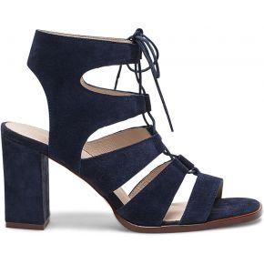 Sandale bleue à brides en cuir velours marine...