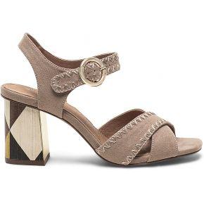 Sandale beige à talon lamellé cuir graphique...