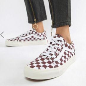 Femme vans - old skool - baskets motif damier -...