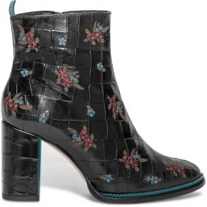 Boots à talon noyce noir en cuir effet croco...