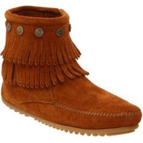 Minnetonka double fringe side zip boot,...