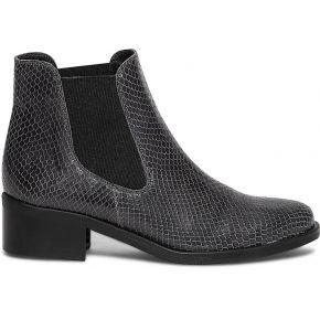 Chelsea boots gris en cuir à effet python gris...