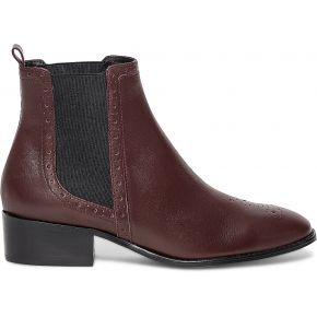 Chelsea boots cuir bordeaux à élastiques noirs...