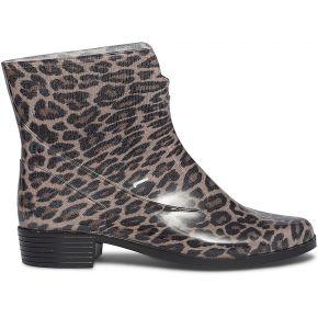 Boots de pluie texto beige à imprimé léopard...