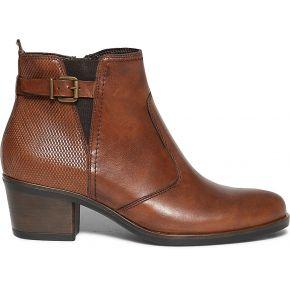 Boots cognac à boucle en cuir