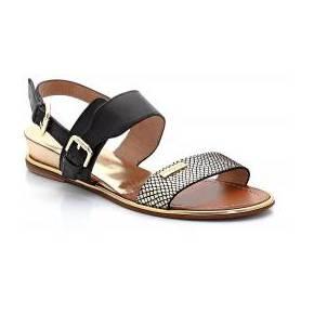 Sandales bichon, cuir doré et façon lézard. les...