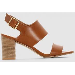 Sandales cuir à talons. jonak camel