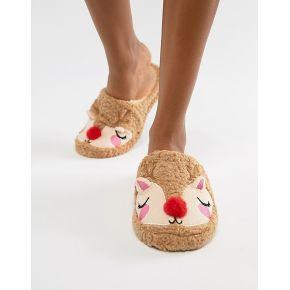 Femme chelsea peers - chaussons duveteux motif...
