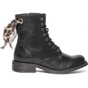 Bottine texto noire en cuir à nœud léopard noir...