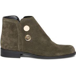 Boots kaki en cuir velours à boutons dorés
