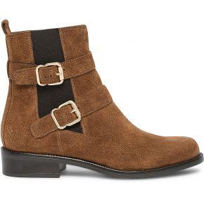 Boots camel en cuir velours à double boucle