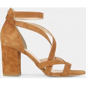 Sandales multibrides à talons en velour camel -...
