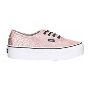 Sneakers compensées rose et argent authentic -...