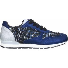 Sneakers bleues cuir tweed amélie - meline