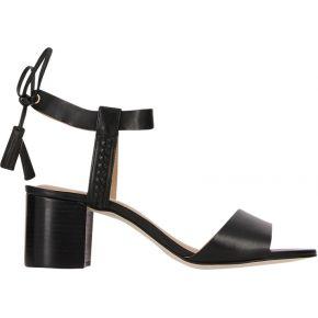 Sandales à talon large et pompons