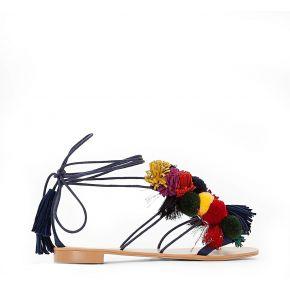 Sandales lacées détail pompons - feminin -...