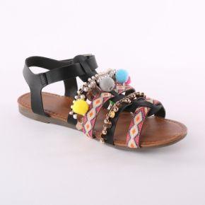 Femme noir sandales forme spartiate perles et...
