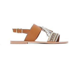 Soldes ! sandales cuir perlées détail pompons -...