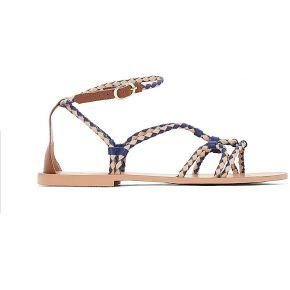 Soldes ! sandales plates cuir détail tresses -...