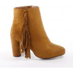Femme marron boots franges à talons