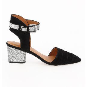 Sandales en cuir suédé noir what for femme