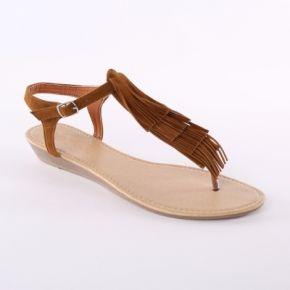 Femme marron sandales franges aspect suédine