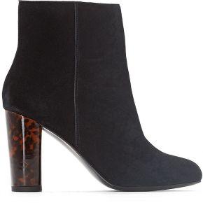 Boots cuir talon écaille - feminin - noir - la...