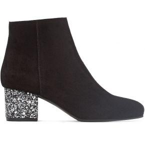Boots cuir talon paillettes - feminin - noir -...