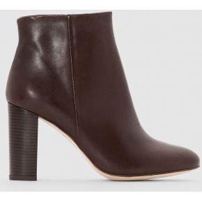 Boots cuir à talon - feminin - marron - la...