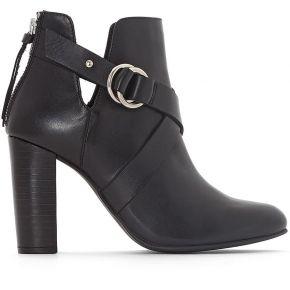 Boots cuir ouvertures côtés - feminin - noir -...