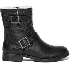 Boots motard noir cuir à boucles