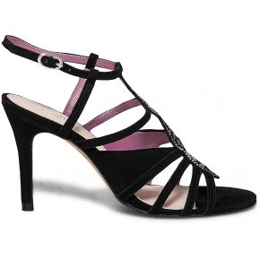 Sandale noire ornée de cristaux swarovski® cuir...