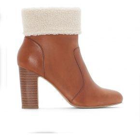 Boots cuir col fourré - feminin - marron - la...