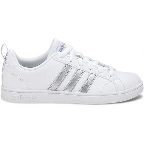 Basket adidas blanche à bandes argentées
