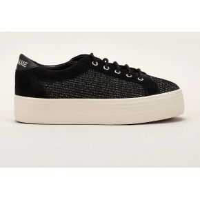 Sneakers plato bridge en tweed noir et gris -...