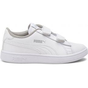 Tennis puma blanche à scratchs blanc puma