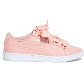 Tennis puma rose en cuir à ruban rose puma