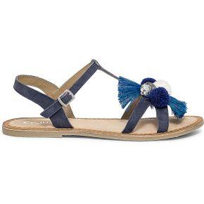 Sandale bleu marine à pompons bleu eram
