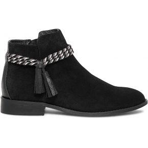 Boots croûte de cuir noire à double cordon