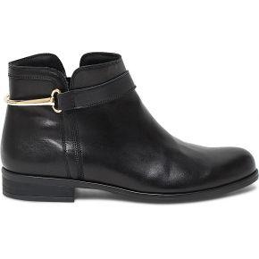Boots cuir noir à éperon-bijou