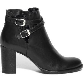 Boots cut-out noir en cuir à double boucle