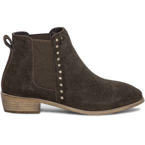 Chelsea boots marron cuir velours perforé or